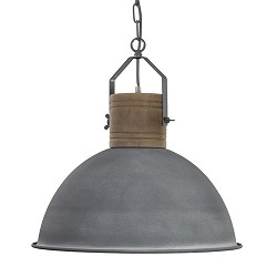 Grijze industriele hanglamp houten knop