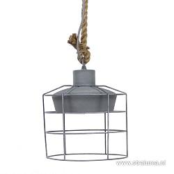 Kleine hanglamp betonlook met korf