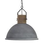 *Grijze industriele hanglamp houten knop