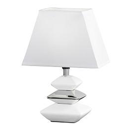 *Witte tafellamp met chroom nachtkastje