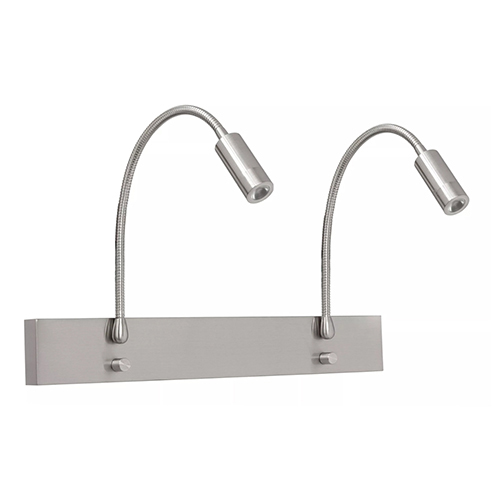Verstelbare wandlamp staal 2-lichts LED
