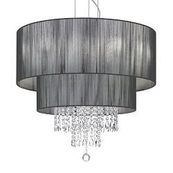 Luxe kroon-hanglamp zwart met kristal