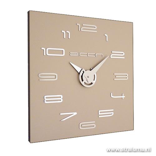 Moderne klok vierkant beige taupe straluma - Moderne klok ...