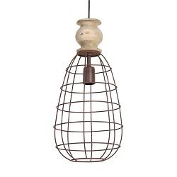 Landelijke hanglamp druppel - hout knop