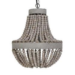 **Landelijk houten kralen hanglamp LUNA