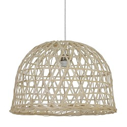 Houten hanglamp Bamboo mand woonkamer