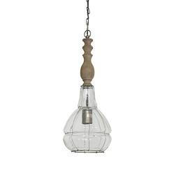 Landelijke hanglamp glas met hout