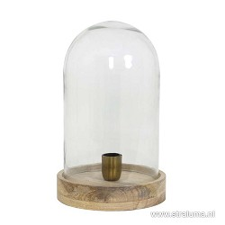 Landelijke glazen tafellamp Celebes hout
