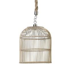 Landelijke hanglamp riet en touw 35 cm