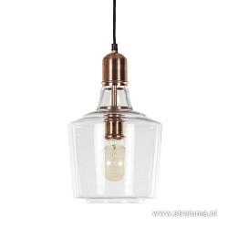 Strak klassieke hanglamp glas koper