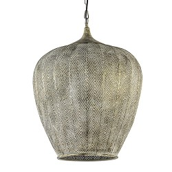 Oosterse hanglamp Lavello antiek goud/wit