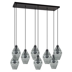 Grote 8-lichts multipendel hanglamp smoke glas ruit