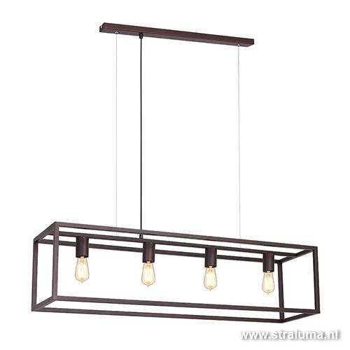 Strak klassieke eetkamer hanglamp bruin  Straluma