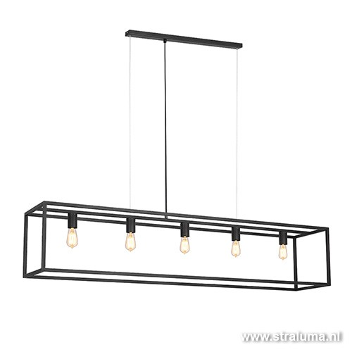Grote eettafel hanglamp zwart balk frame  Straluma