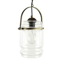 *Klassieke lantaarn hanglamp glas-brons