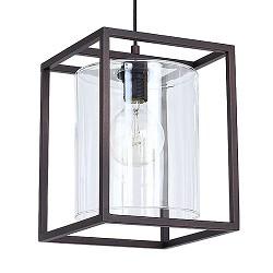 Strak landelijke hanglamp lantaarn bruin