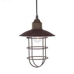 * Kleine industriële hanglamp roestbruin
