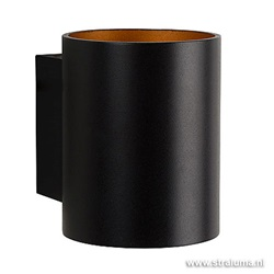 Strakke wandlamp zwart/gouden binnenkant