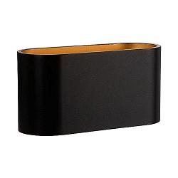 Design wandlamp ovaal zwart/goud