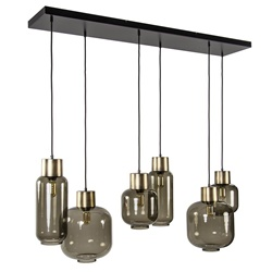 Luxe multipendel hanglamp 6-lichts smoke glas/ brons