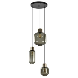Hanglamp Lett 3L rond zw/brons smoke mix