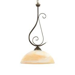 *Klassieke hanglamp bruin met glas