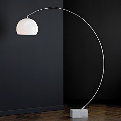 Vloerlamp / booglamp nikkel, kap wit