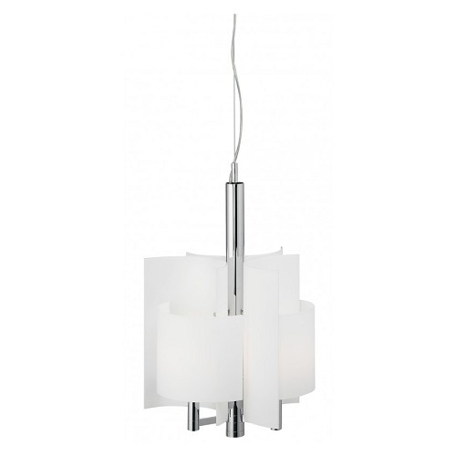 Beschrijving *Hanglamp groot wit glas, chroom design