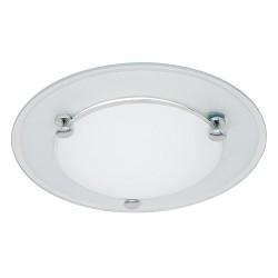*Plafondlamp wit glas 6122W