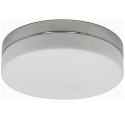 Badkamer plafondlamp staal met wit glas