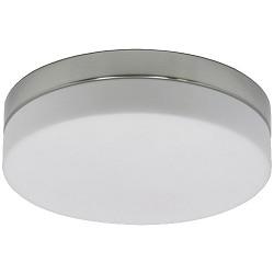 Badkamer plafondlamp rond staal-wit glas