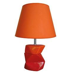 *Kubische tafellamp oranje, rood met kap