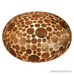 Schelpen tafellamp coin goudbruin