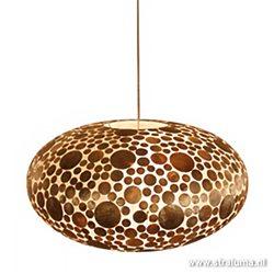 Schelpen hanglamp coin goudbruin groot