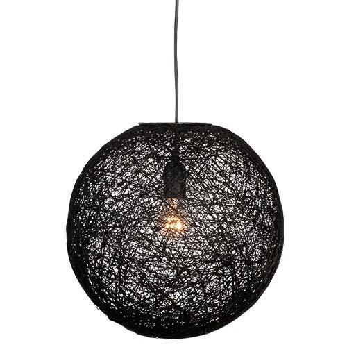 Abaca hanglamp zwart bol 45 cm straluma for Slaapkamer hanglamp