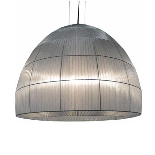 Hanglamp Kap stof zilver, vide-eetkamer  Straluma