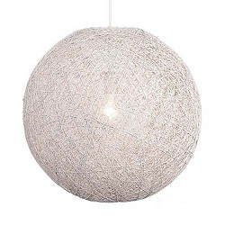 *Hanglamp Abaca gebroken wit rond 35 cm