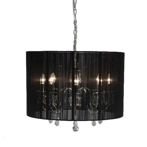 hanglamp kroonluchter in zwarte kap straluma