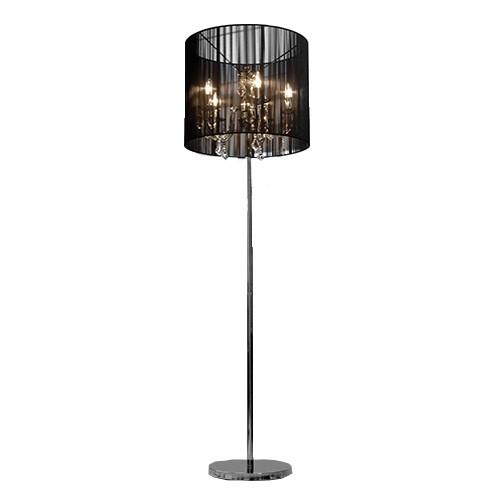 staande lamp kroonluchter in zwarte kap straluma