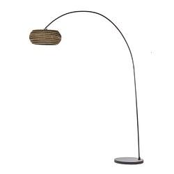 Bruine booglamp met kartonnen lampenkap