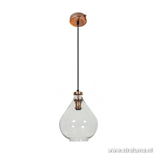 Trendy hanglamp Ilze koper-glas eettafel  Straluma