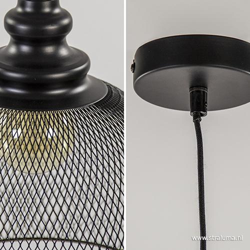 Slaapkamer Hanglamp : Gaas hanglamp karleen zwart slaapkamer straluma