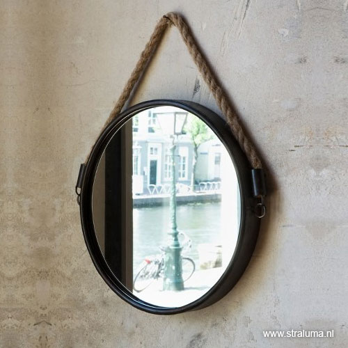 Trendy landelijke spiegel zwart met touw straluma - Spiegel voor de gang ...