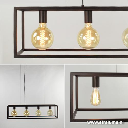 Strak klassieke eetkamer hanglamp bruin straluma for Moderne verlichting eetkamer