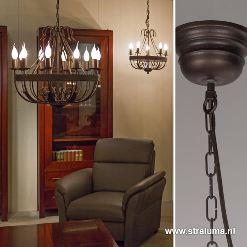 Landelijke kroonluchter hanglamp bruin straluma - Kroonluchter voor marokkaanse woonkamer ...