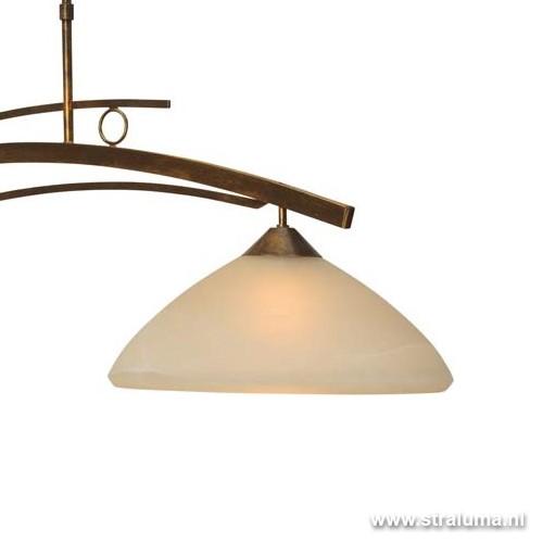 Klassieke hanglamp bolzano brons amber straluma for Klassieke hanglamp