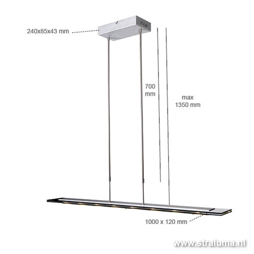 Moderne hanglamp Led eettafel staal/glas  Straluma