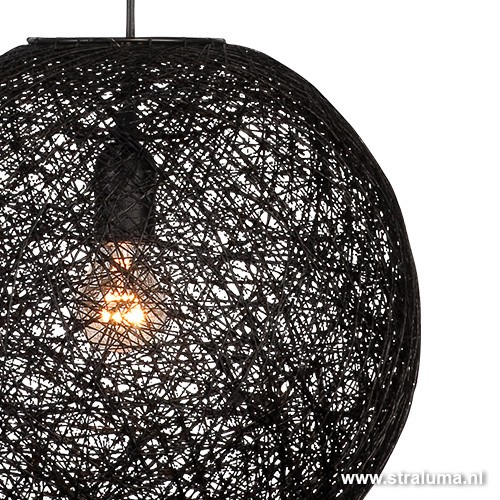 Grote Hanglampen Slaapkamer : Abaca hanglamp bol zwart rond slaapkamer ...