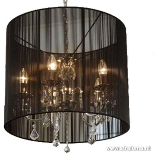 hanglamp chroom zwart kroonluchter kap straluma